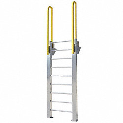 Fixed Ladder, WalkThru, 10 ft. 4 In H, Al