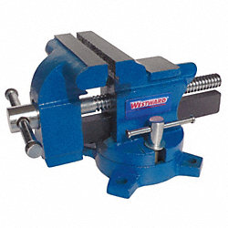 Bench Vise, Portable Swivel Base, 3-1/2 In
