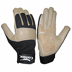 Mechanics Gloves, Leather, Tan/Blk, L, PR