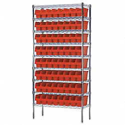 Bin Shelving, Wire, 36X14, 64 Bins, Red