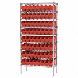 Bin Shelving, Wire, 36X18, 64 Bins, Red