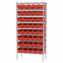 Bin Shelving, Wire, 36X18, 40 Bins, Red