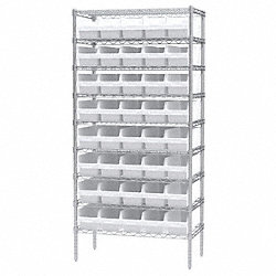 Bin Shelving, Wire, 36X18, 40 Bins, White