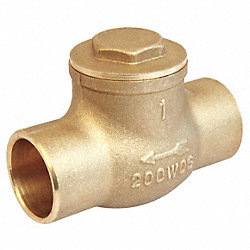 Swing Check Valve, 1In, Solder, Brass