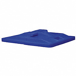 Poly Hinged Lid, 16 Bu, Blue