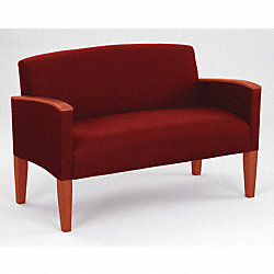 Loveseat, Cherry Finish, Crimson Fabric