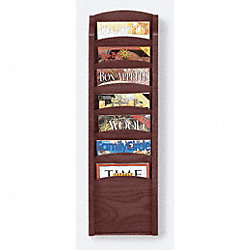 Literature Rack, 7 Pocket, Mahogany Finish