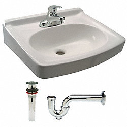 Lavatory Sink Kit, Wall, 17-1/8In W