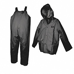 3 Piece Rainsuit w/Detach Hood, Black, XL