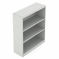 Bookcase, 3-Shelf, 42 In. H, Grey