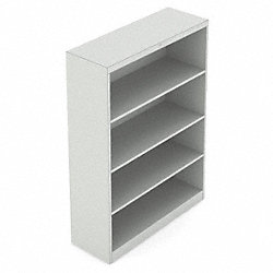 Bookcase, 4-Shelf, 48 In. H, Grey