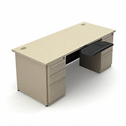Office Desk, Double Pedestal, Taupe