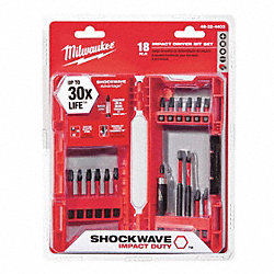 Driver Bit Set, 18 Pc, 1/4 In Shank