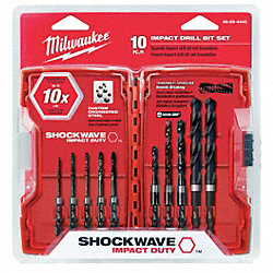 Drill Bit Set, 10 Pc, 1/4 In Shank