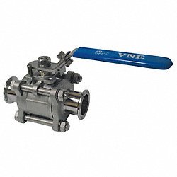 Ball Valve, 2-Way, 3In, Clamp, 600 psi, SS
