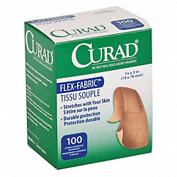 Adh Bandage, Strl, Fabric, 3/4x3 In, PK 100