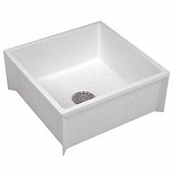 Mop Sink, Fiberglass, 36x24x10In, White