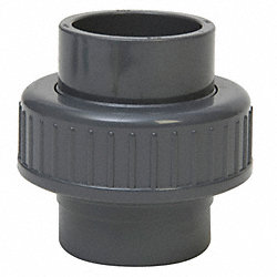 Union, 1In, Slip Socket, PVC, Gray