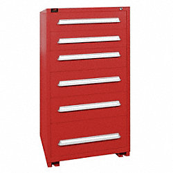 Modular Cabinet, 6 Drawers, Red