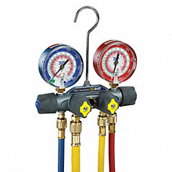 Manifold Gauge and Hose Set, 4 Valve