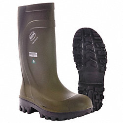 Boots, Steel Toe, PU, 16In, Green, 6, PR
