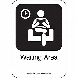 Waiting Area Sign, 10 x 7 In, AL