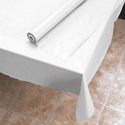 Table Cover, Plastic, 40 In x 300 Ft, White