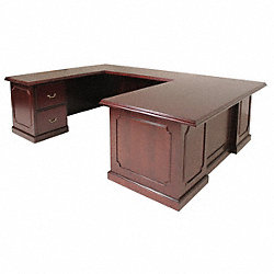 Office Desk, U-Shape, Prestige, Mahogany