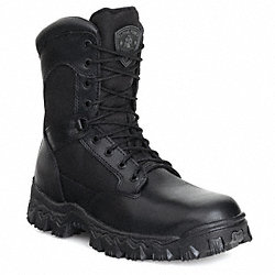 Work Boots, Pln, Mens, 10-1/2W, Black, 1PR