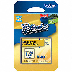 Label Tape, Black/Gold, 26-1/5 ft. L