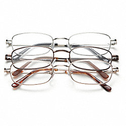 Reading Glasses, +1.75, Clear, Acrylic, PK 3