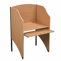 Carrel, Deluxe, Starter, 3-Sided, Teak