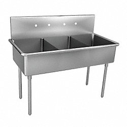 Triple Compartment Sink, 57 In L