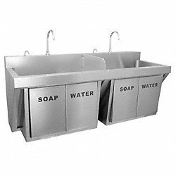 Double Compartment Scrub Sink, 64 In L