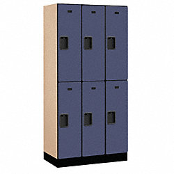 Assembled Locker, 2 Tier, 36x18x76, Blue