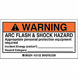 Arc Flash Label, 4 In. W, 2 In. H, PK 100