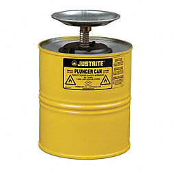 Plunger Can, 1 Gal., Steel, Yellow