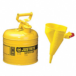 Type I Safety Can, 2 gal, Ylw, 13-3/4In H