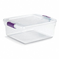 Storage Tote, Polypropylene, 15.6 Qt, Clear