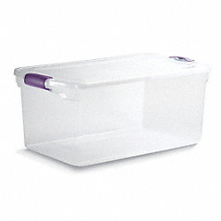 Storage Tote, Polypropylene, 76 Qt, Clear
