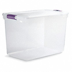 Storage Tote, Polypropylene, 112 Qt, Clear