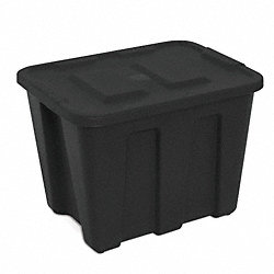 Storage Tote, Polyethylene, 21 Gal, Black