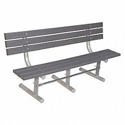 Park Bench, Gray Recycled Plastic, 72W