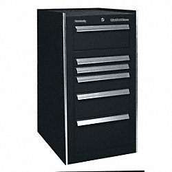 Side Cabinet, 21x24x35-3/4In, 6 Drwrs, Blk