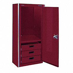 Locker, 20x23x62 In, Burgundy, Stl, 3 Drawer