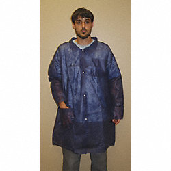 Disp. Lab Coat, 2XL, Poly, Blue, PK30