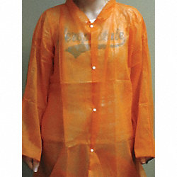 Disp. Lab Coat, 2XL, Poly, Orange, PK30