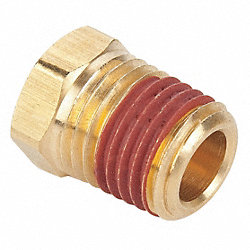 Hex Head Plug, 1/4 In, 9/16 In Hex, Brass