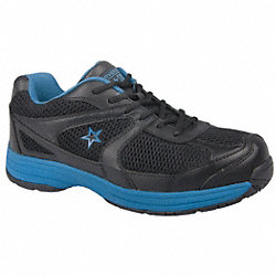 Athletic Work Shoes, Stl, Mn, 9.5W, Blk, 1PR
