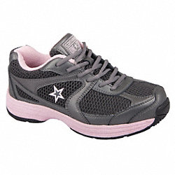 Athletic Work Shoes, Stl, Wmn, 9.5W, Gry, 1PR